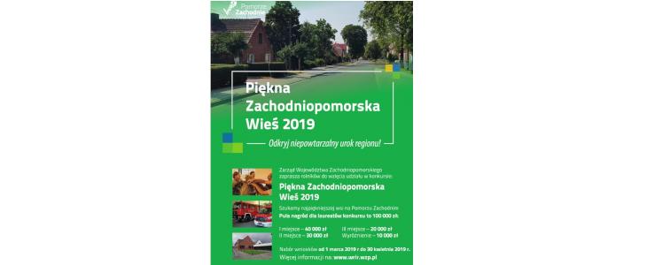 """Ogłoszenie konkursu pn. """"Piękna Zachodniopomorska Wieś"""" 2019"""