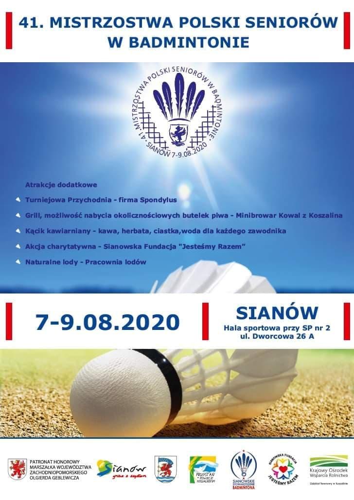 plakat informujący 41.mistrzostwa Polski Seniorów w badmintonie 7-9 sierpinia w Sianowie