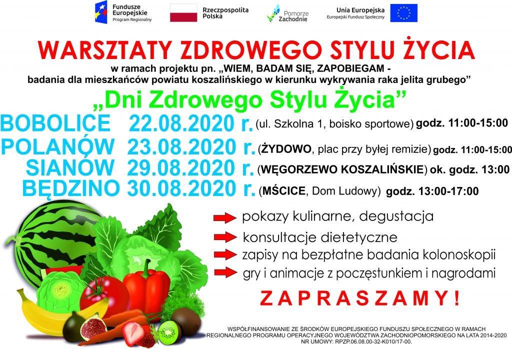 plakat informujący i promujący warsztaty zdrowego stylu zycia