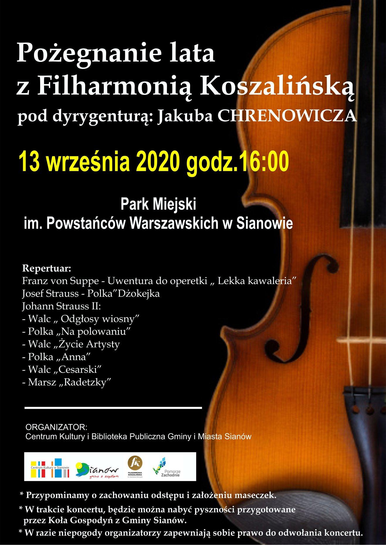 plakat informacyjny Pożegnanie lata z Filharmonią Koszalińska 13 września godz. 16:00 w Sianowie