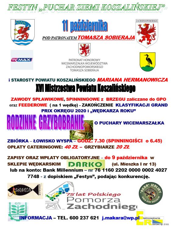plakat informacyjny Festyn pn. Puchar Ziemi Koszalińskiej w Rosnowie 11.10.2020