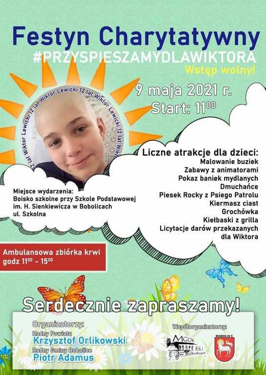 Plakat informujący o festynie charytatywnym w Bobolicach.