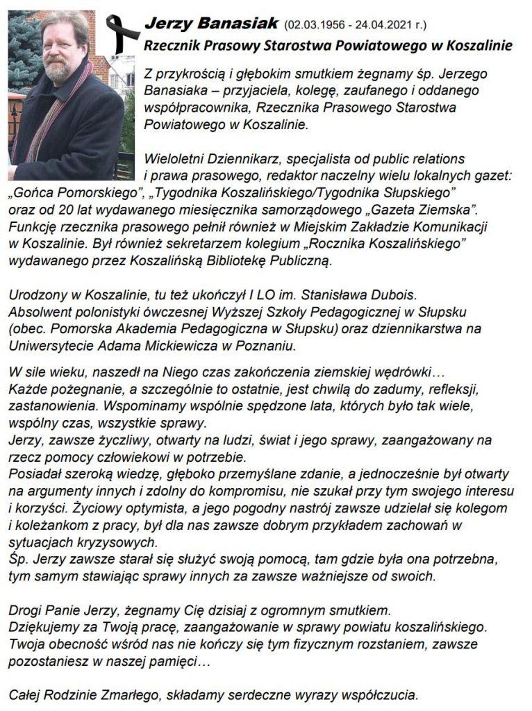 Jerzy Banasiak Rzecznik Prasowy Starostwa Powiatowego w Koszalinie