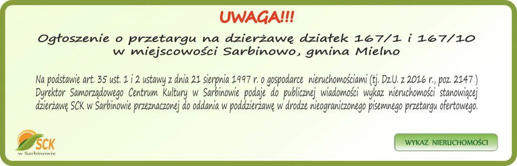 baner ogłoszenie o przetargu na dzierżawę