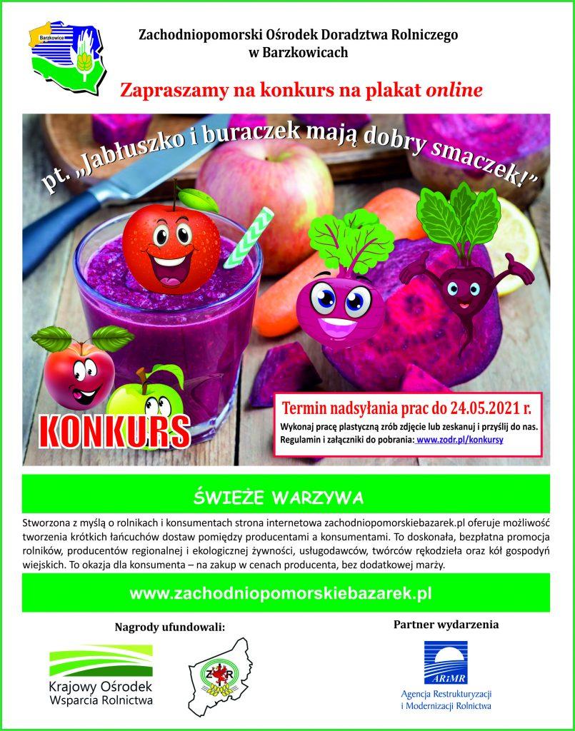 Plakat promujący konkurs plastyczny on-line pt. Jabłuszko i buraczek mają dobry smaczek, organizowany przez ZODR w Barzkowicach