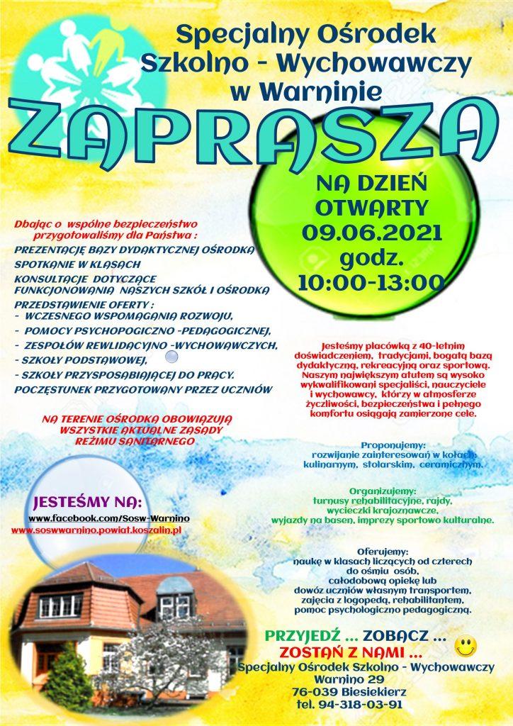Dzień otwarty w SOSW w Warninie w dniu 9 czerwca 2021 r. w godz.:10-13.00_plakat informacyjny