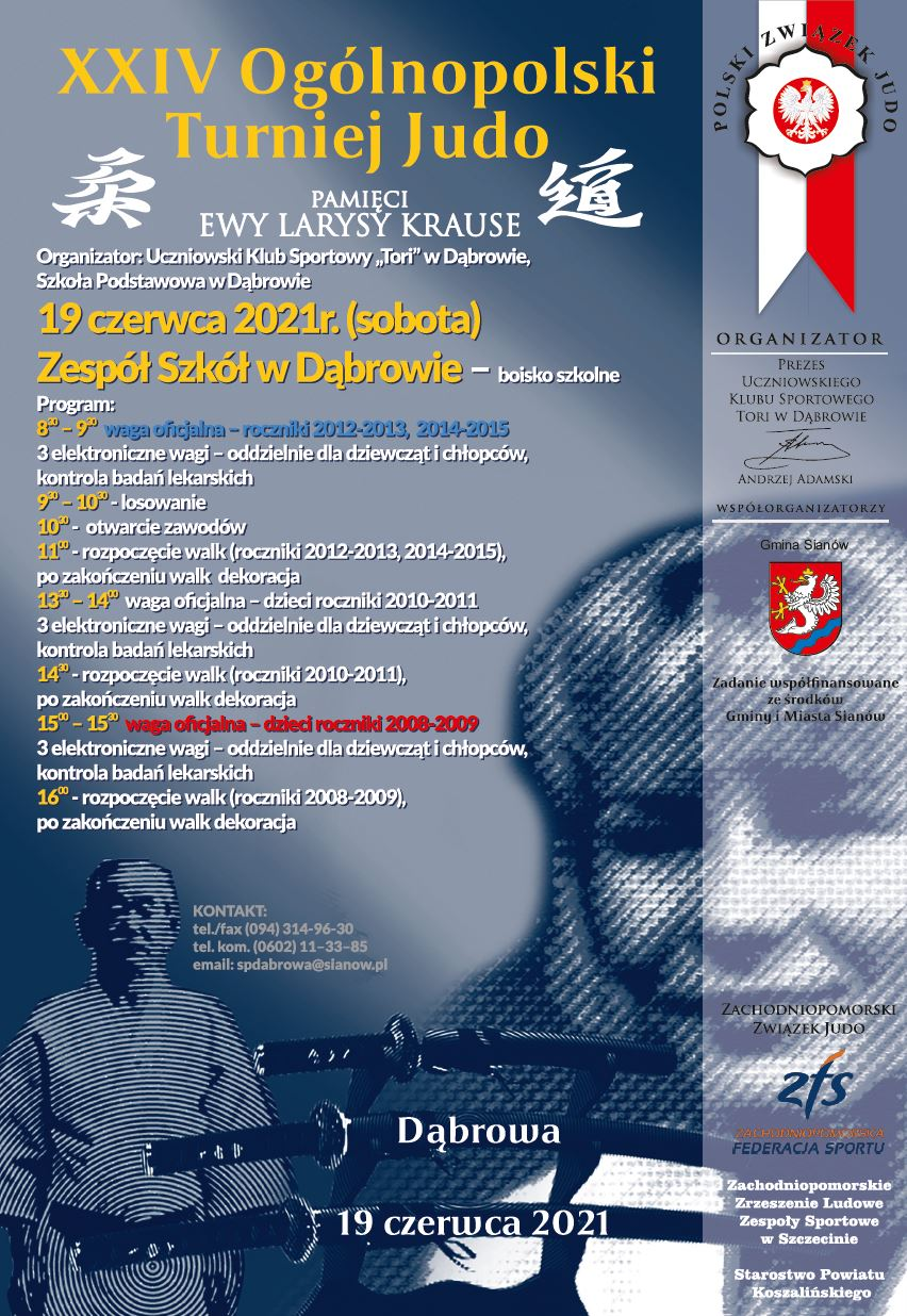 Plakat informacyjny XXIV Ogólnopolski Turniej Judo, 19.06.2021 ZS w Dąbrowie