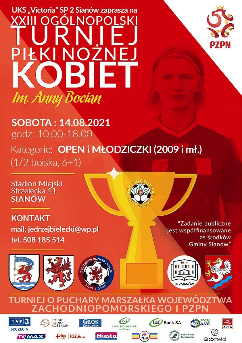 Plakat informujący o turnieju piłki nożnej kobiet im. Anny Bocian 14.08.2021