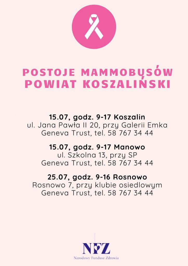 plakat z informacja o postojach mammobusów na terenie powiatu koszalińskiego i miasta Koszalin