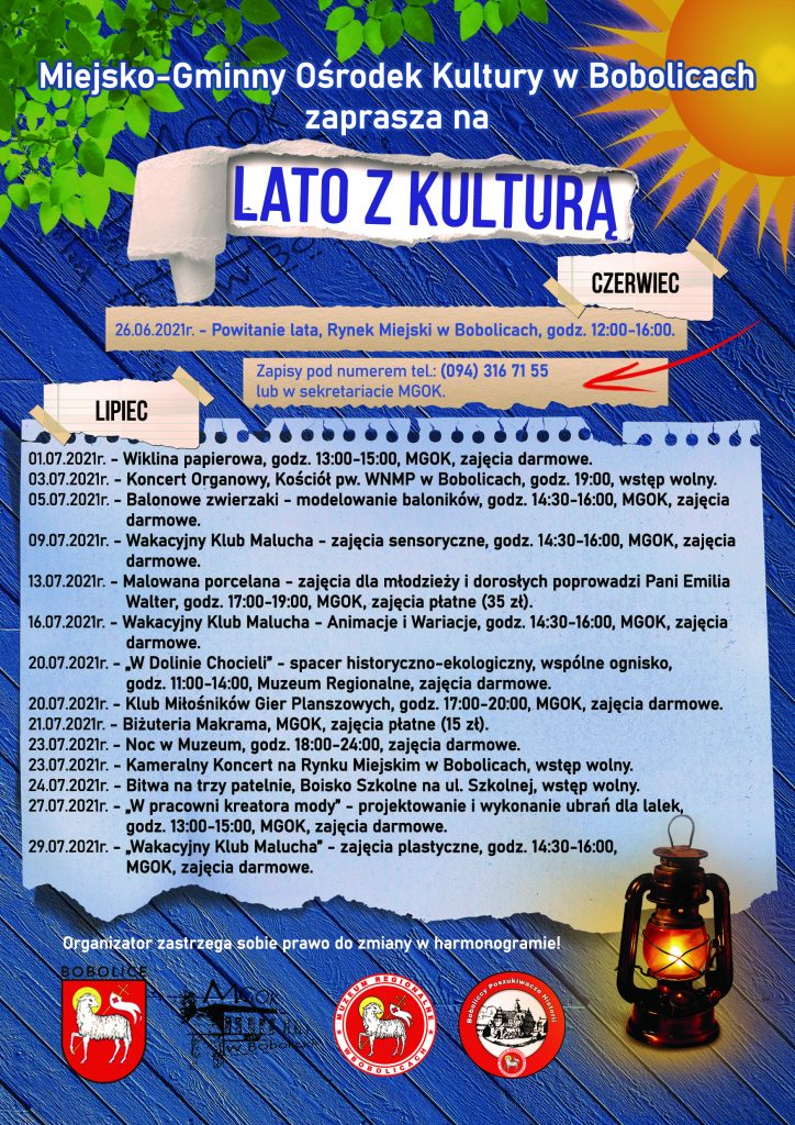 plakat informacyjny pn. Lato z Kulturą w Bobolicach, wydarzenia lipiec 2021