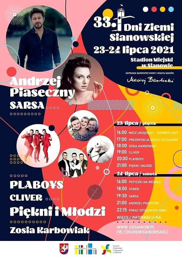 23-24 lipca 2021 Dni Ziemi Sianowskiej plakat z informacją o wydarzeniu i atrakcjach