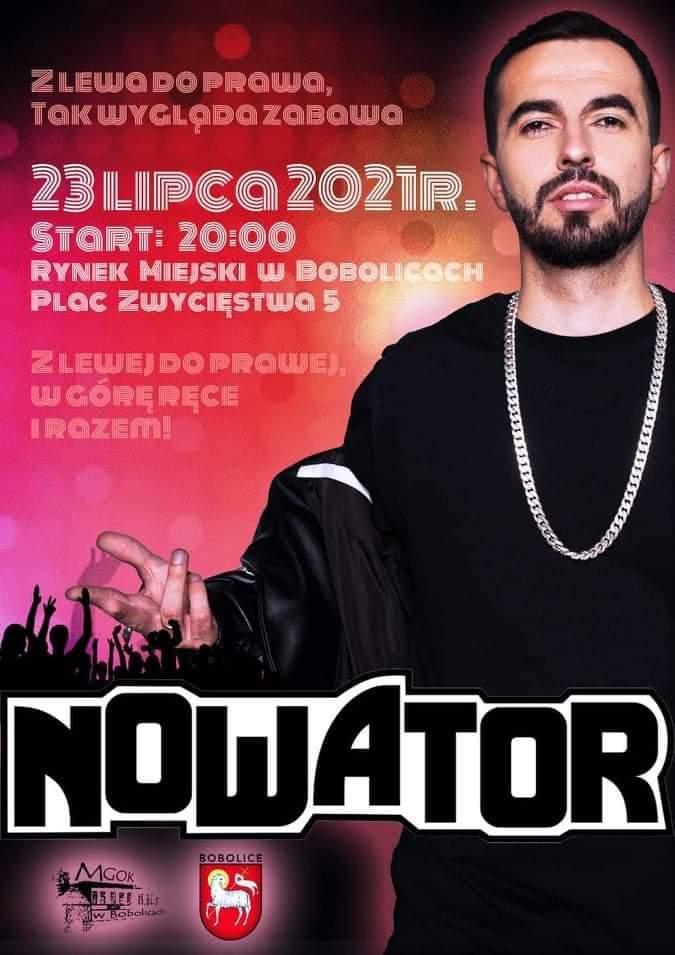 Koncert zespołu Nowator, 23.07.2021, godz. 20:00 Rynek Miejski w Bobolicach