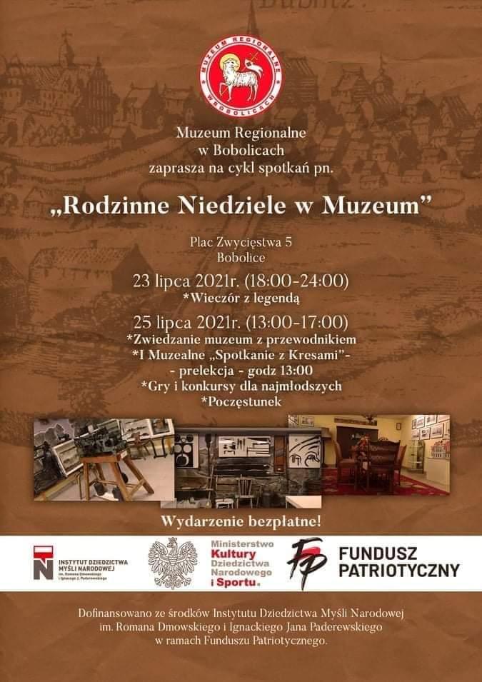 plakat zapraszający na rodzinne niedziele w muzeum regionalnym w Bobolicach