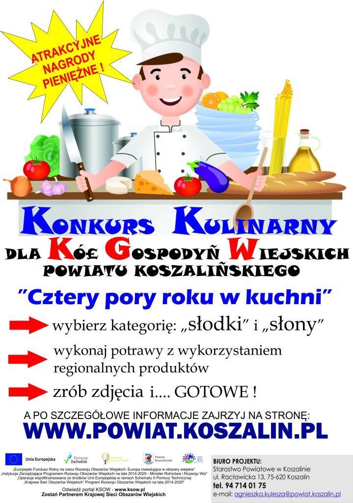 plakat konkurs kulinarny dla kół gospodyń wiejskich powiatu koszalińskiego pn. 4 pory roku w kuchni
