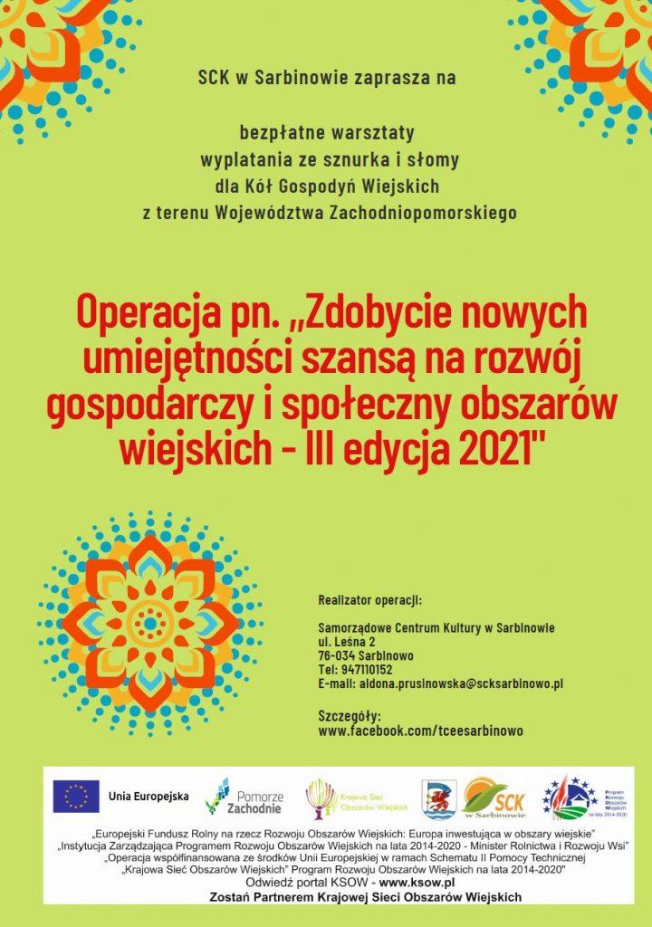 plakat projektu KSOW warsztaty tworzenia ze sznurka i słomy