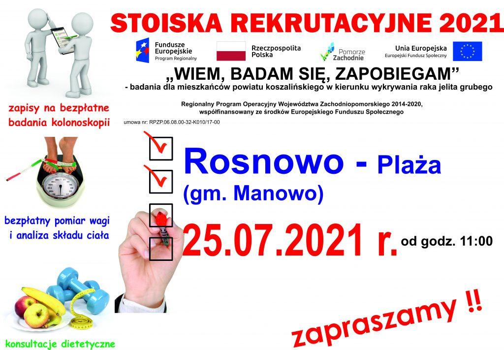 Plakat informacyjny zapraszający do stoiska rekrutacyjnego projektu Wiem, badam się, zapobiegam, w dniu 25.07.2021 r. w Rosnowie