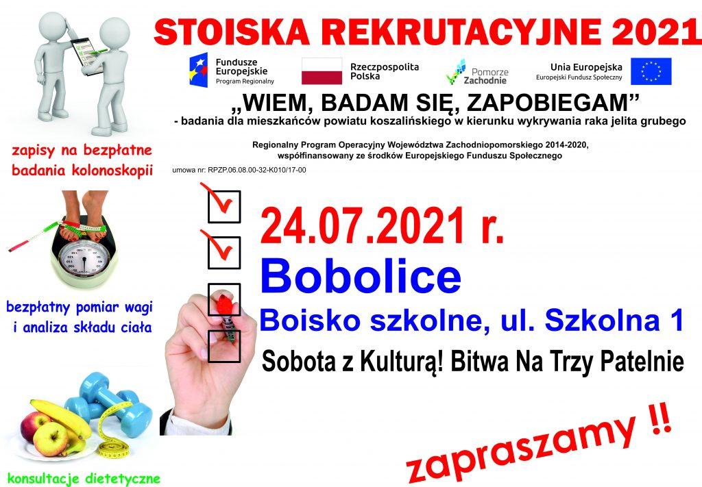 plakat stoiska rekrutacyjne 2021 Bobolice, teren boiska szkolnego ul. szkolna 1