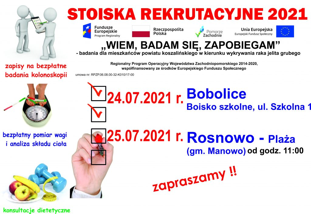 plakat stoiska rekrutacyjne 2021 Bobolice i Rosnowo jpg