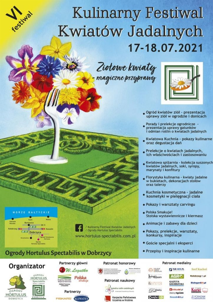 plakat wydarzenia Festiwal Kwiatów Jadalnych, 17-18 lipca 2021 Dobrzyca