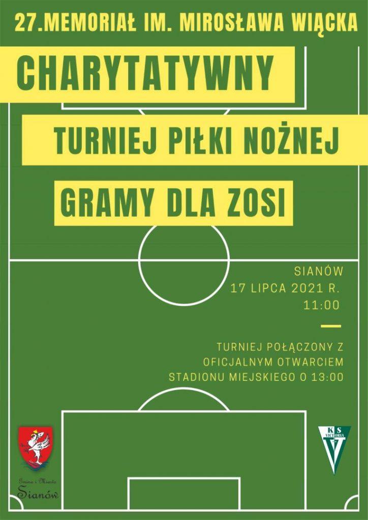 plakat z informacją o otwarciu stadionu w Sianowie i charytatywnym turnieju piłki noznej