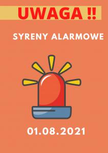 plakat informujący o terminie syreny alarmowej