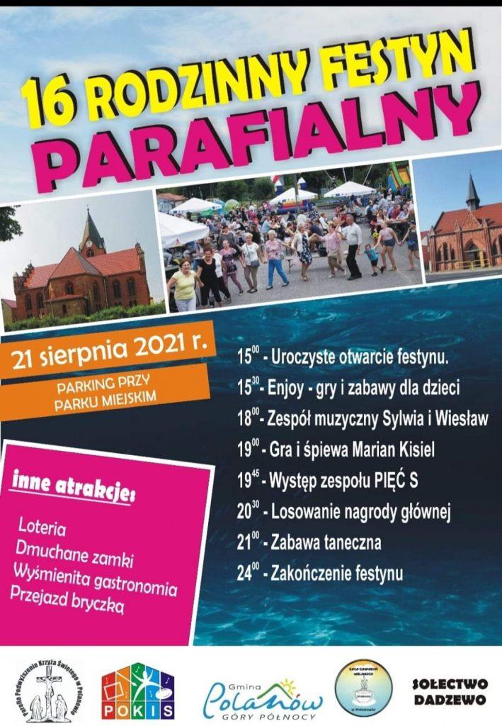 16 rodzinny festyn parafialny 21.08. parking przy parku miejskim w Polanowie, start od godz.15