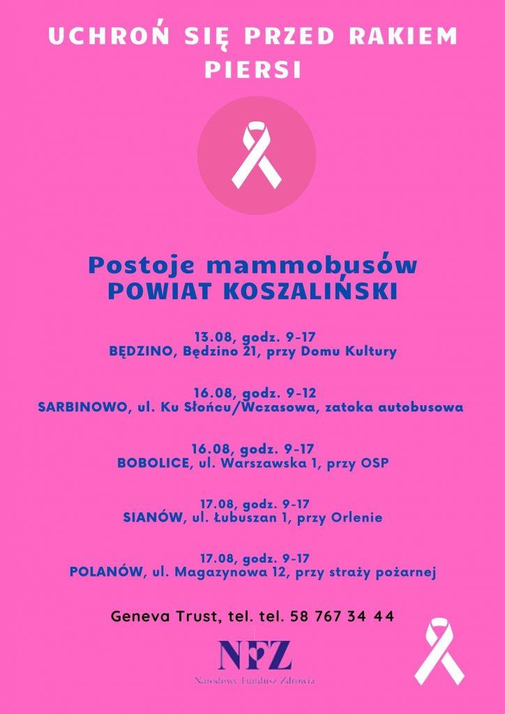 Plakat informacyjny o postoju mammobusów na terenie powiatu koszalińskiego, obejmuje gminy Będzino, Mielno_Sarbinowo, Bobolice, Sianów, Polanów od 13.08 do 17.08.