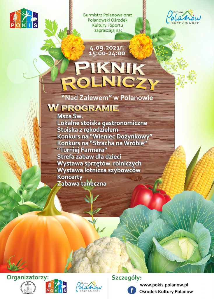 Plakat informacyjny - piknik rolniczy Nad Zalewem w Polanowie w dniu 04.09.2021