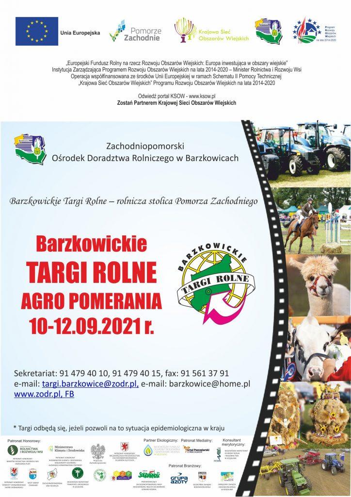Plakat informujący o Barzkowickie Targi Rone Agro Pomerania 10_12.09.2021