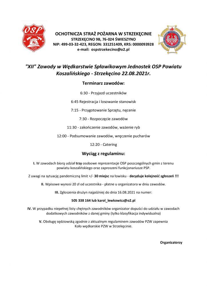 Plakat informujący o XII Zawodach w Wędkarstwie Spławikowym Jednostek OSP Powiatu Koszalińskiego, Strzekęcino 22.08.2021
