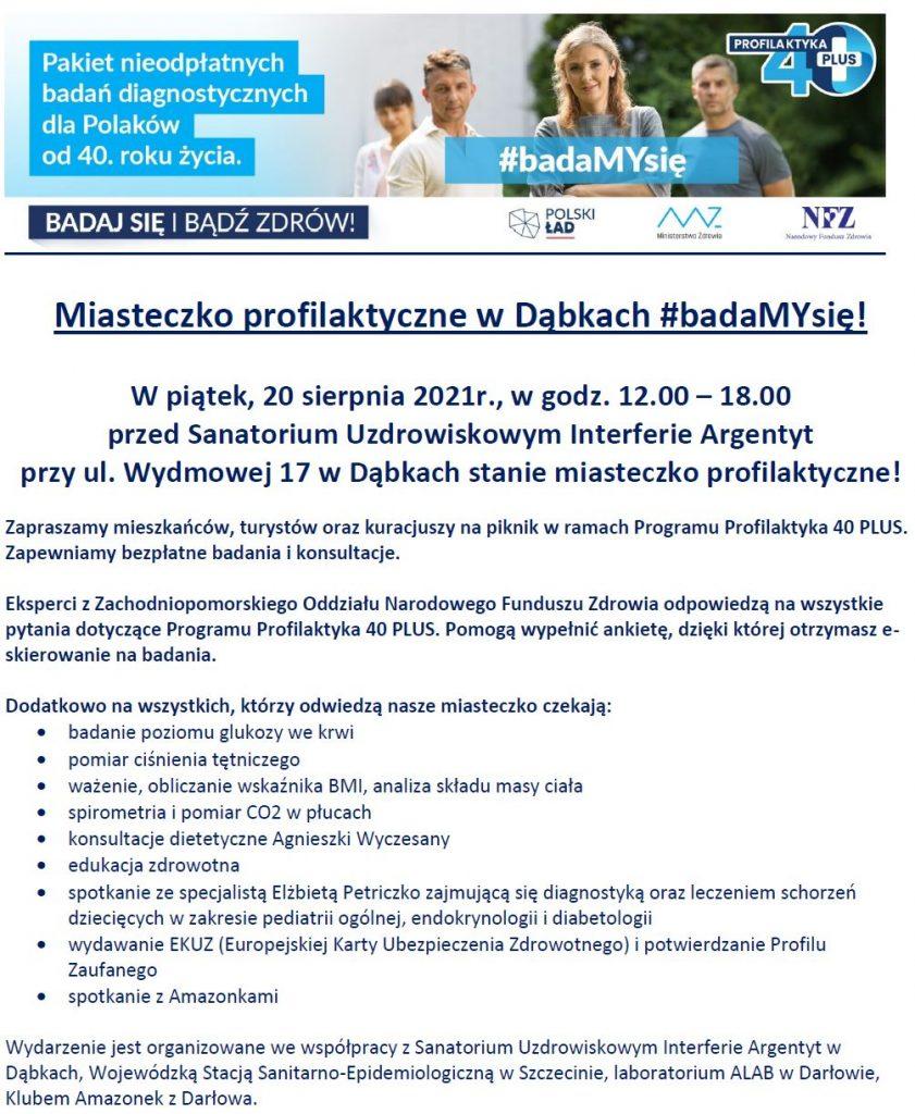 Plakat zapraszający do miasteczka profilaktycznego w Dąbkach w dniu 20.08.2021