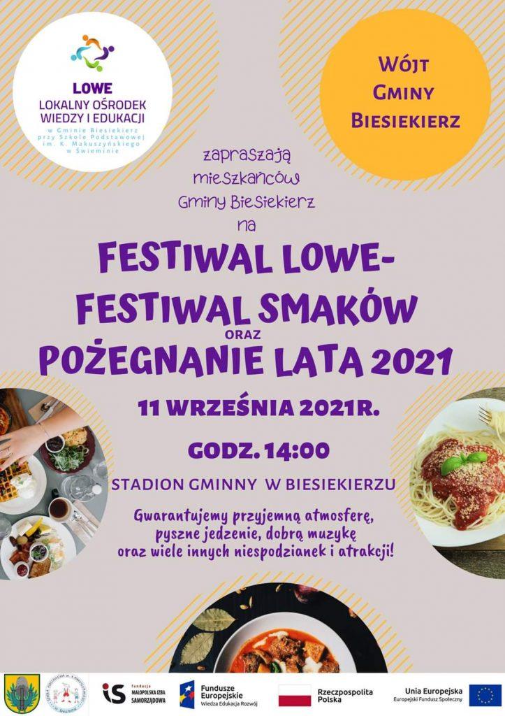 Plakat zapraszający na Festiwal Lowe Festiwal Smaków oraz Pożegnanie lata 2021, które odbędzie się w dniu 11.09.2021 od godz. 14 na stadionie gminnym w Biesiekierzu