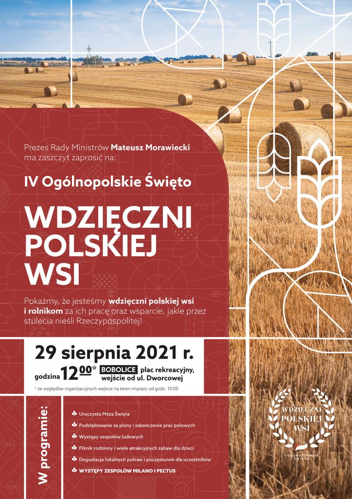 Plakat zapraszający na dozynki ogólnopolskie do Bobolic w dniu 29.08.2021 r.