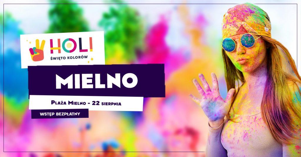 plakat promujący holi festiwal festiwal kolorów w Mielnie 22.08.2021