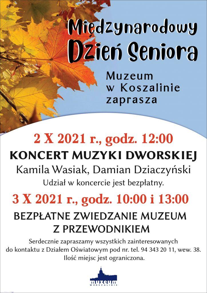 Koncert muzyki dworskiej z okazji Międzynarodowego Dnia Seniora 2.10.2021 od godz. 12 w Muzeum w Koszalinie