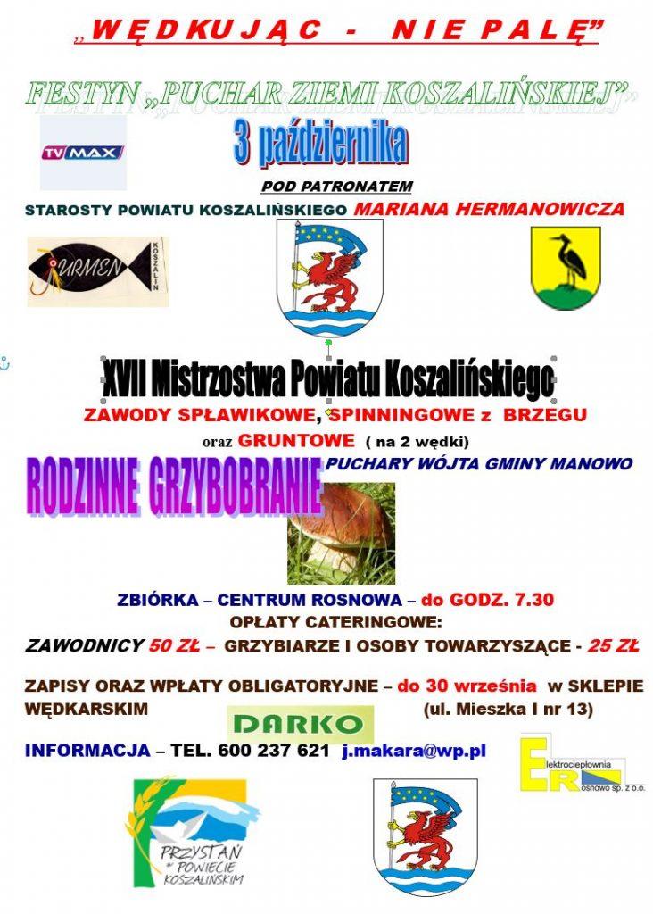 Plakat informujący o Rodzinnym Festynie o puchar ziemi koszalińskiej, tóry odbędzie się 3.10.2021, zbiórka w rosnowie