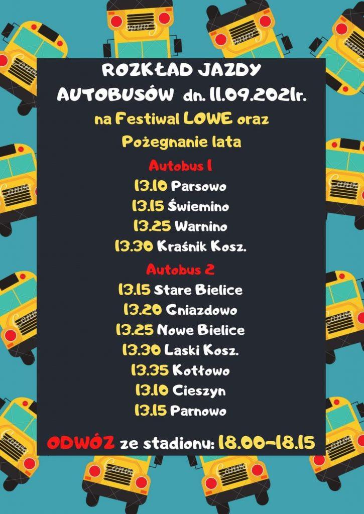 Plakat informujący o rozkładzie jazdy autobusów na festiwal smaków lowe w dniu 11.09.2021
