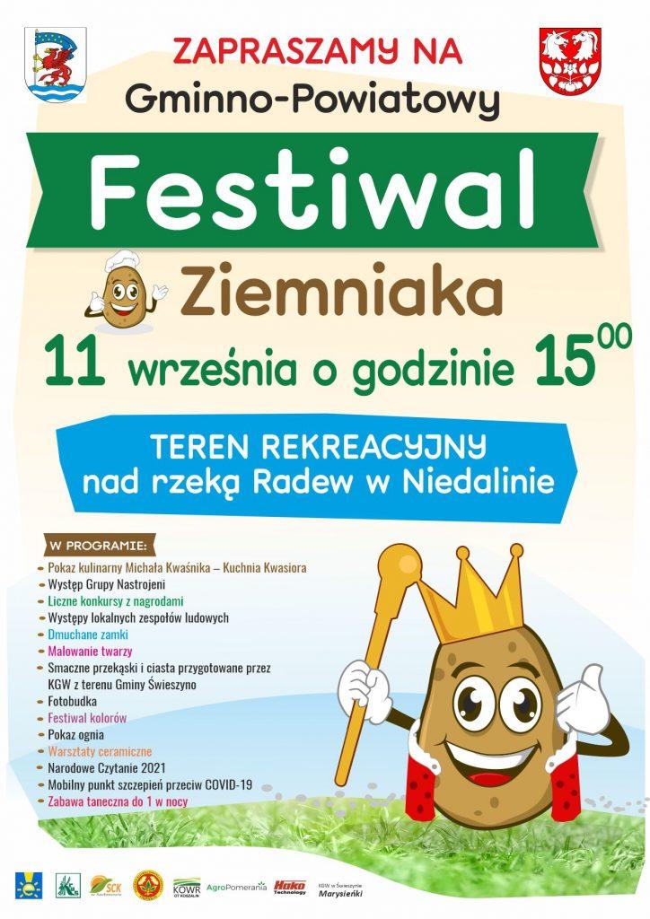Plakat z zaproszeniem na Festiwal Ziemniaka odbywający się w Niedalinie 11.09.2021 od godz. 15