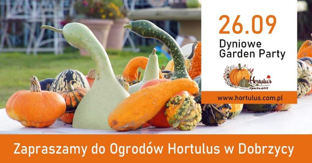 Plakat zapraszający na dyniowe garden party, które odbędzie sie w dniu 26.09.2021 w Ogrodach Hortulus