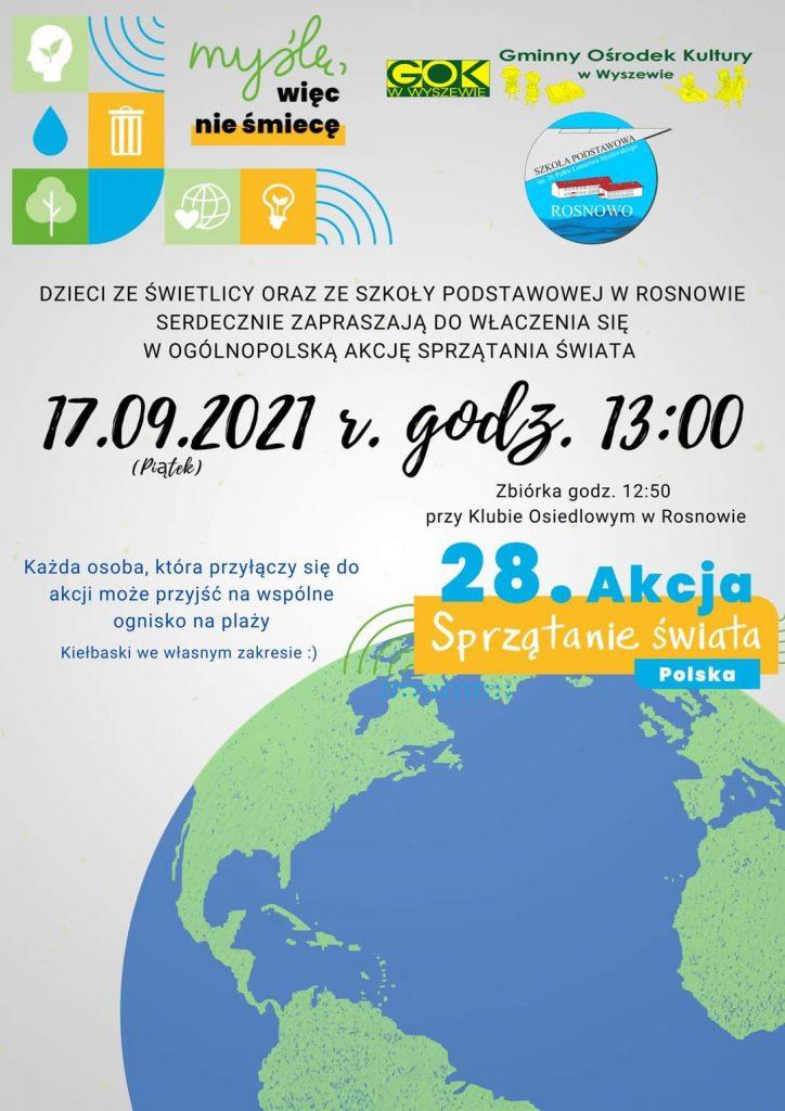 plakat zapraszający do udziału w akcji sprzątania świata w dniu 17.09.2021 godz. 13 zbiórka przy klubie osiedlowym w Rosnowie