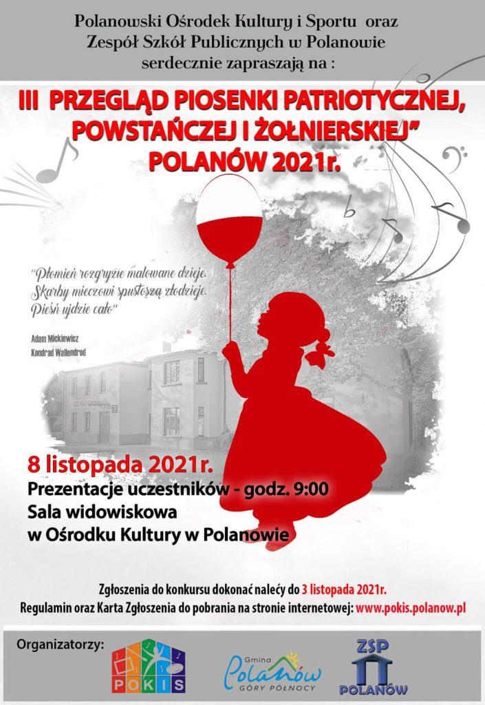 Plakat III przegląd piosenki patriotycznej, powstańczej i żołnierskiej, 8.11.20221, godz. 10, sala widowiskowa w Ośrodku Kultury w Polanowie