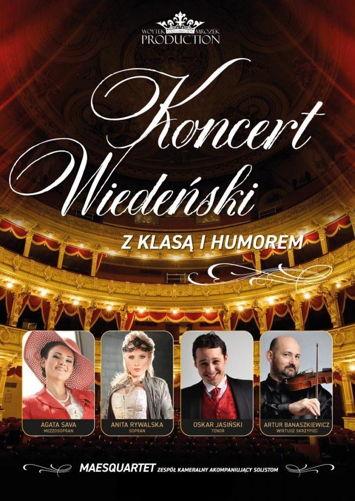 Plakat promujący wydarzenie pn. Koncert Wiedeński z klasa i humorem, Filharonia Koszalińska 18.10.2021 godz. 19