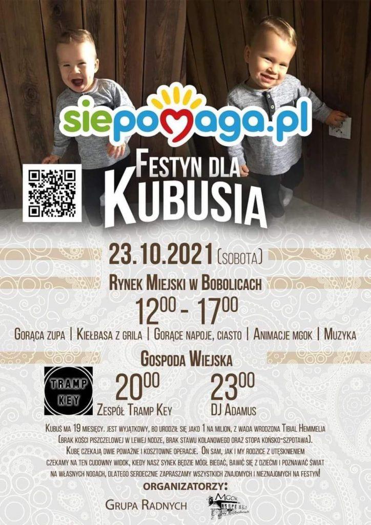 Plakat zapraszający na festyn dla Kubusia 23.10.2021 Rynek Miejski w Bobolicach od godz.12