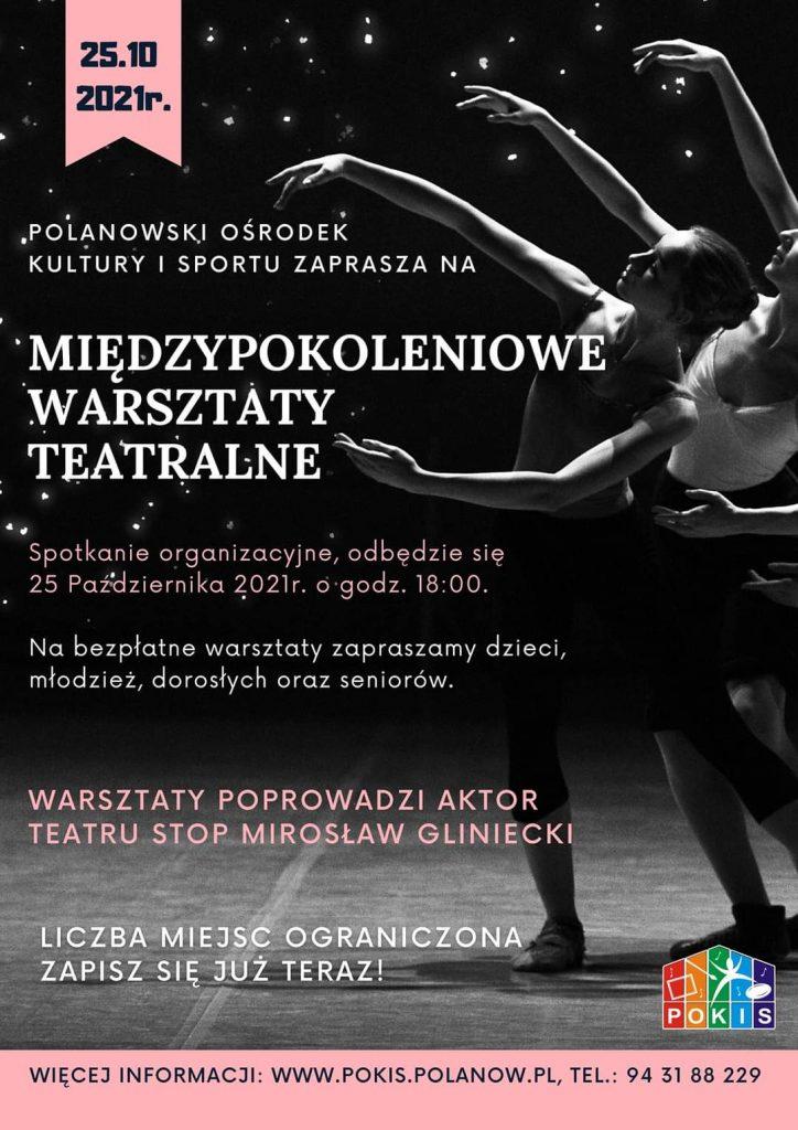 Plakat zapraszający na międzypokoleniowe warsztaty teatralne 25.10.2021, godz.18