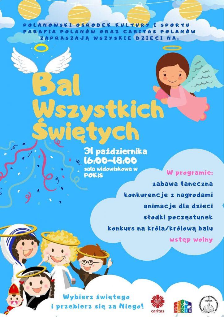plakat zapraszający do udziału w wydarzeniu Bal Wszystkich Świętych 31.10.2021 od godz.16 sala widowiskowa w Polanowie Ośrodek Kultury